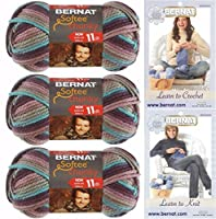Bernat Softee Chunky Yarn Super Bulky #6, 3 Skeins Shadow Ombre 29121 Bundle