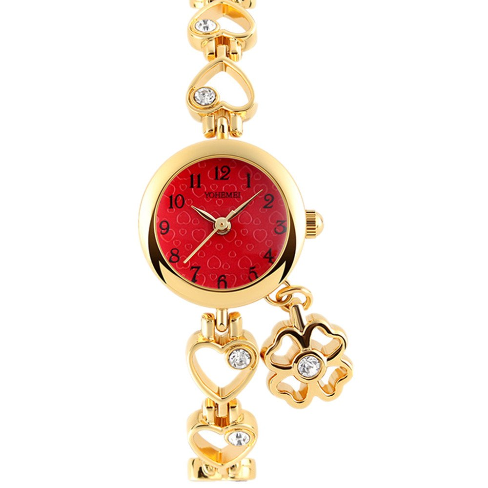 TIDOO Watches Gold Hollow Out Heart Shape Bracelet with Clover Pendant Quartz Wrist Watch for Ladies (Red)