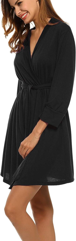 Unibelle Damen Morgenmantel Kurz aus Baumwolle D/ünn 3//4 /Ärmel Bademantel Kimono Saunamantel Robe Negligee Mit V-Ausschnitt Sommer