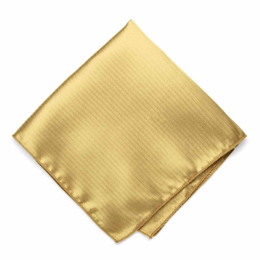 TieMart Pale Gold Herringbone Silk Pocket Square