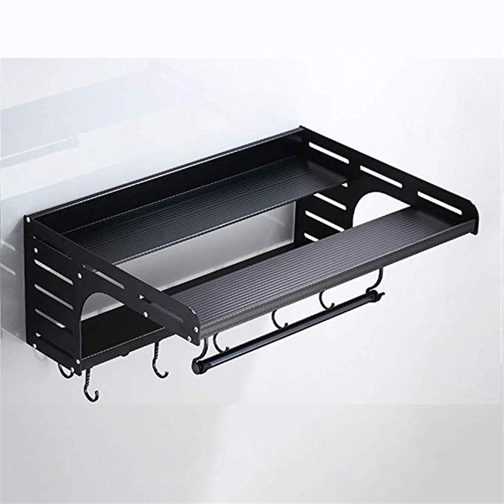 GT.S Aluminum Wall-mounted Microwave Oven Rack, Kitchen Storage Rack, Multi-function Oven Rack, Storage And Seasoning Rack (color: Black/Silver) (Color : Black) by GT.S