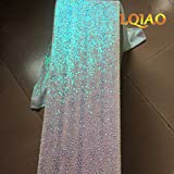 LQIAO Iridescent White Sequin Table Runner-13x108inch Sparkly Shimmer Sequin Fabric, Sequin Table Runner, Sequin Tablecloth, Table Linens Wedding Dining Party Shiny Decoration(18PCS)