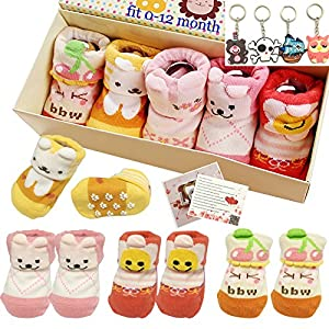 Fly-young lady® 5pairs 0-18 months Girls Animal Non-Skid Anti Slip Toddler Baby Socks Infant Newborn Cotton Ankle Sock With Beautiful Box