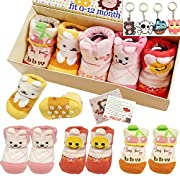 Fly-love® 5pairs 0-18 months Girls Animal Non-Skid Anti Slip Toddler Baby Socks Infant Newborn Cotton Ankle Sock With Cute Box