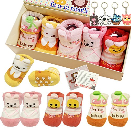 Fly-love® 5pairs 0-18 months Girls Animal Non-Skid Anti Slip Toddler Baby Socks Infant Newborn Cotton Ankle Sock With Cute Box (Gift For Newborn Baby Girl)