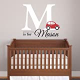"""Nursery Boys Name and Initial Car Personalized Name Wall Decal 19"""" W by 18"""" H, Boys Nursery Name Decals, Boys Cars Wall Decal"""