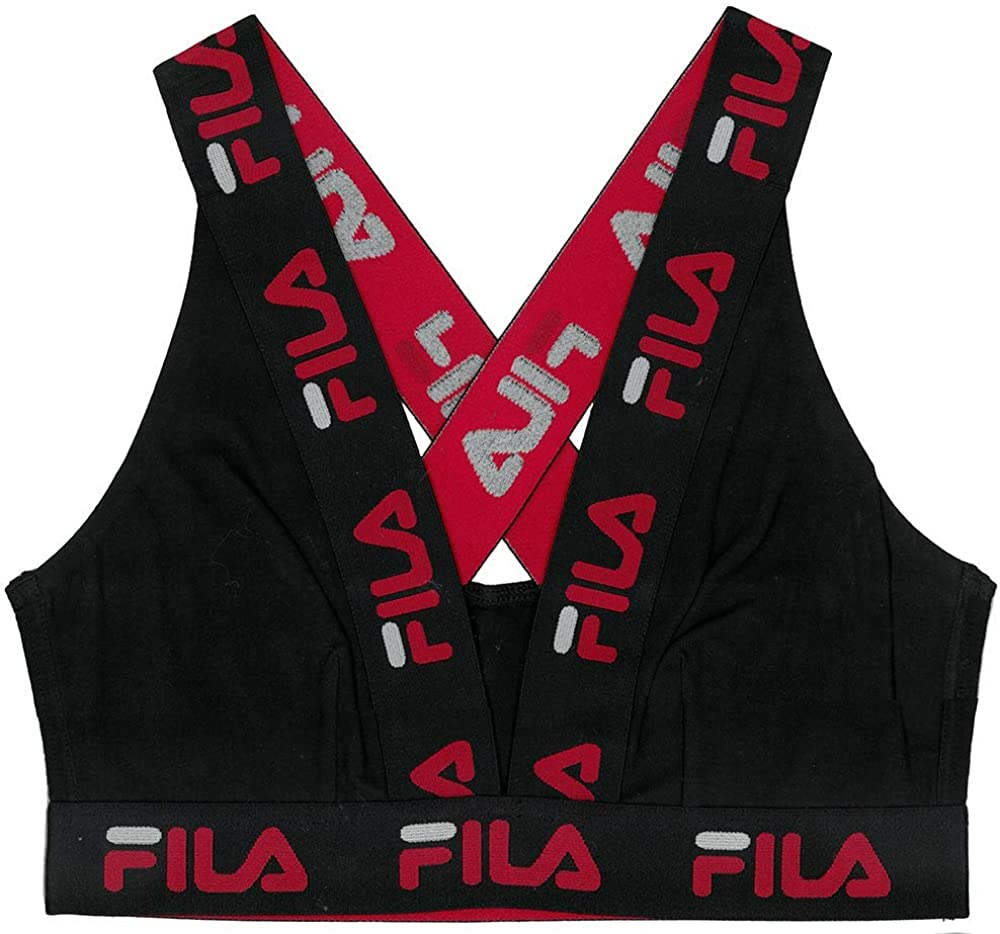 Fila Womens Logo Cotton Cross-Back Sports Bra