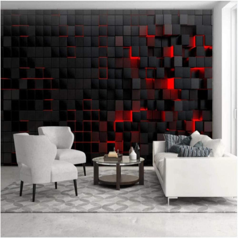 Custom Modern Technology Wallpapers For Living Room Wall Paper 3d Red Light Shining Black Cubes Wall Mural Wallpaper Home Decor 120x100cm Amazon Com
