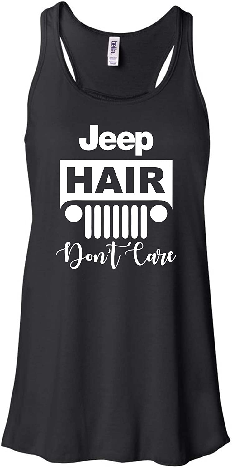 Beach, Lake, Jeep Hair, Don't Care Flowy Ladies Racerback Tank Top