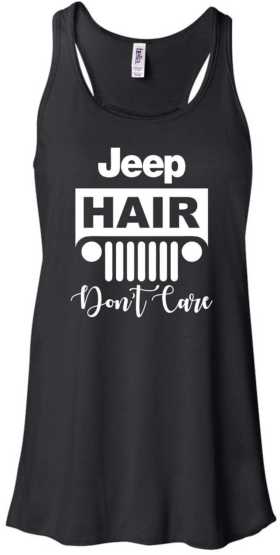 Beach, Lake, Jeep Hair, Don't Care Flowy Ladies Racerback Tank Top