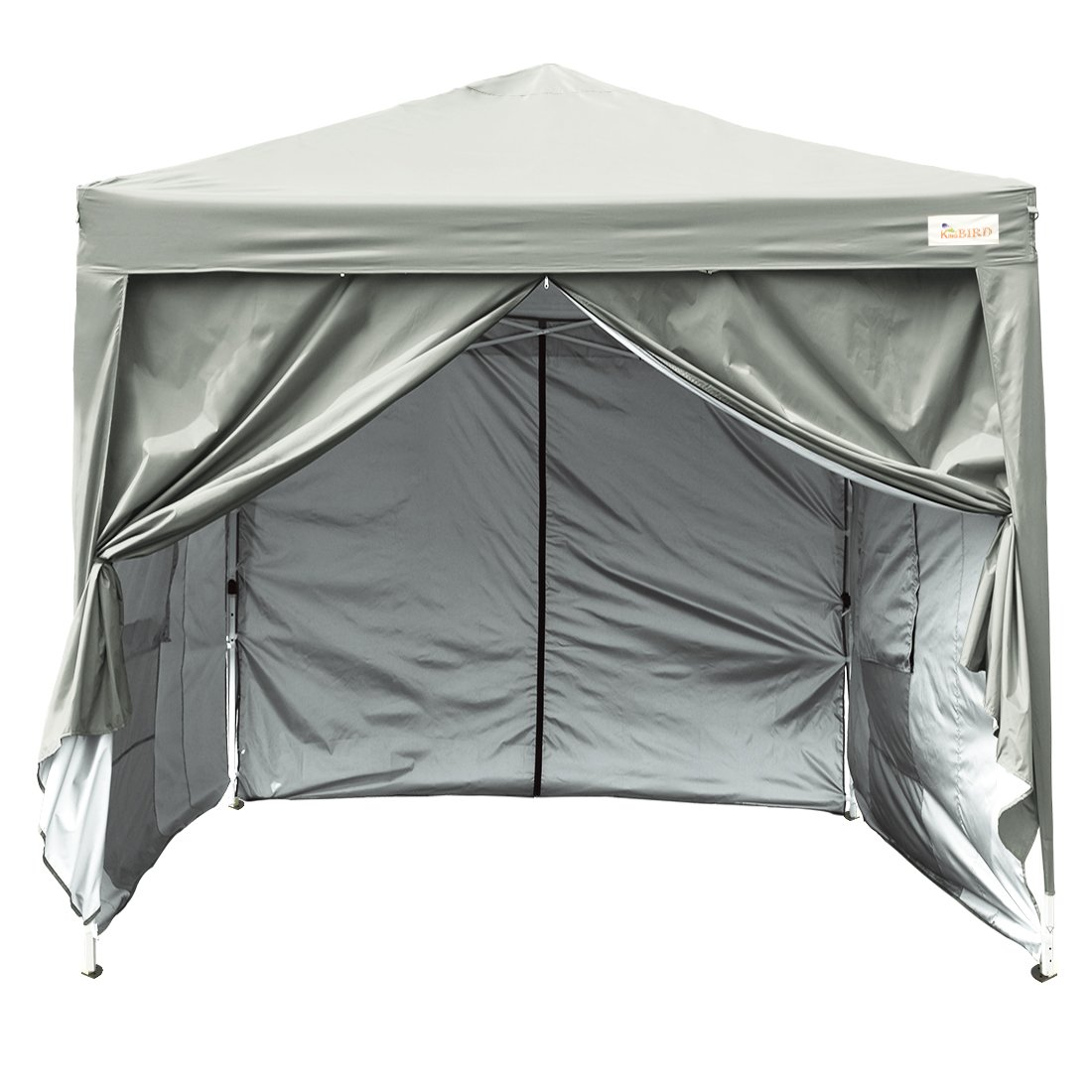 Kingbird 10 x 10 ft Easy Pop up Canopy Waterproof Party Tent 4 Removable Walls Mesh Windows with Carry Bag-7 Colors (Grey)