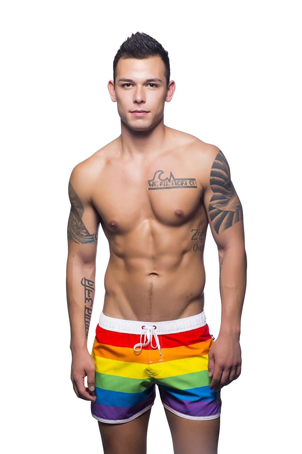 Andrew Christian Pride Swim Shorts Rainbow Print X-Small 7632