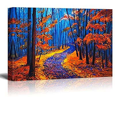 Grand Piece, Original Creation, Vibrant Color Oilpainting Style Forest in Blue and Red