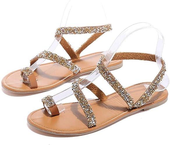 Roma Womens Ladies Gladiator Snake Flat Bling Rhinestone Strap Sandal Shoes