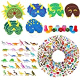 WATINC 100 Pcs Dinosaur Toy Kit Includes Mini Realistic Plastic Assorted Dinosaurs, Kawaii Deco Sticker, Kid Masks,Different Dinosaurs Stamps(Party Gift Educational)