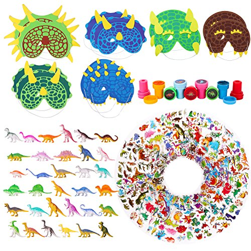 WATINC 100 Pcs Dinosaur Toy Kit Includes Mini Realistic Plastic Assorted Dinosaurs, Kawaii Deco Sticker, Kid Masks,Different Dinosaurs Stamps(Party Gift Educational) -