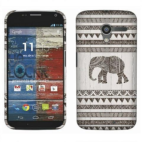 Motorola Moto X Phone XT1058 1st Gen 2013 Case, Fincibo (TM) Back Cover Hard Plastic Protector, Doodle Gray Aztec (Moto X 1st Gen Phone Covers)