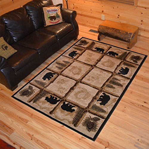 Pinecone Round - Rug Empire Rustic Lodge Area Rug, Round, Bear Cabin, Multi 7472