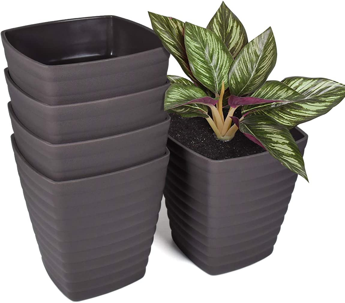 Flower Pots 6 inch, 5 Set of Plant Pots with Drainage Hole and Stoppers, Square Plastic Pots for Tulips, Carnation, Daffodils and Houseplants, Simple Home Office Garden Decoration, Gray