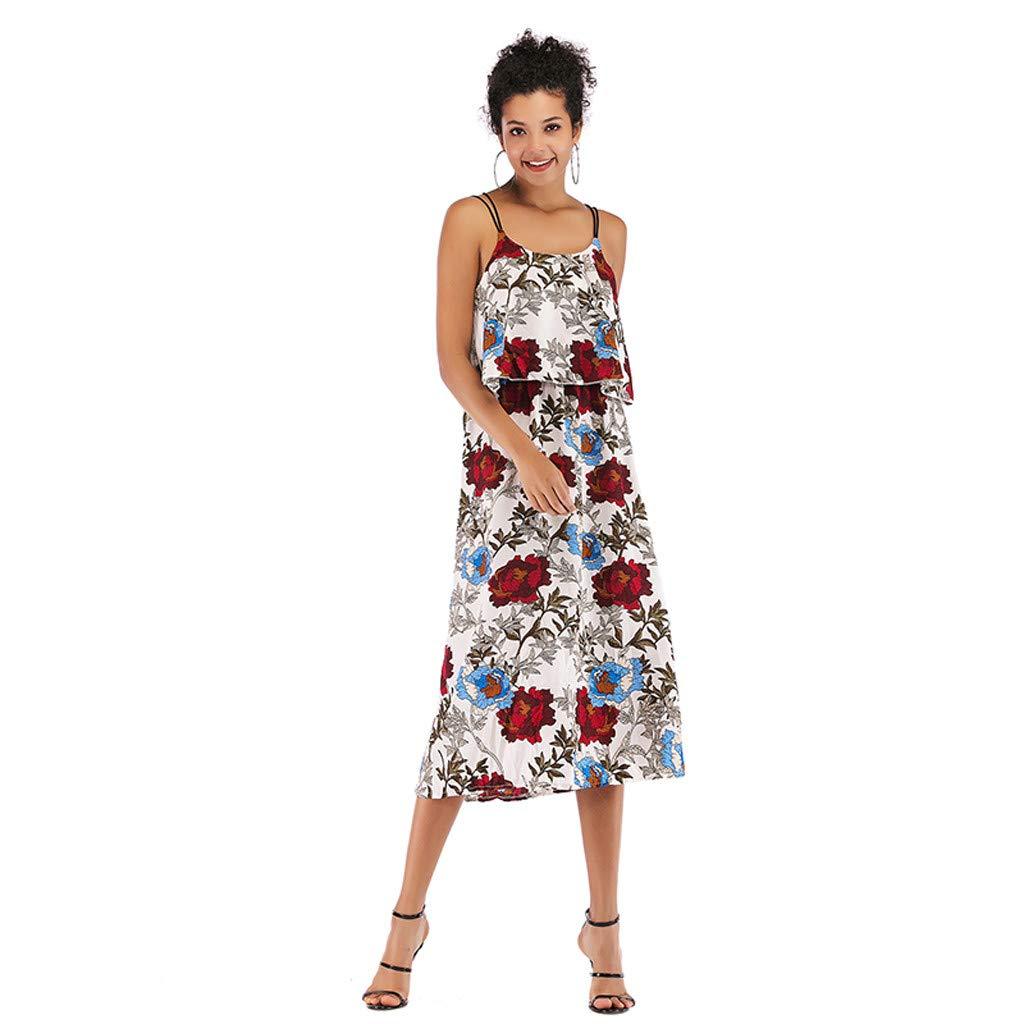 Vestidos Mujer Casual Espalda Abierta Estampado de Flores Material ...