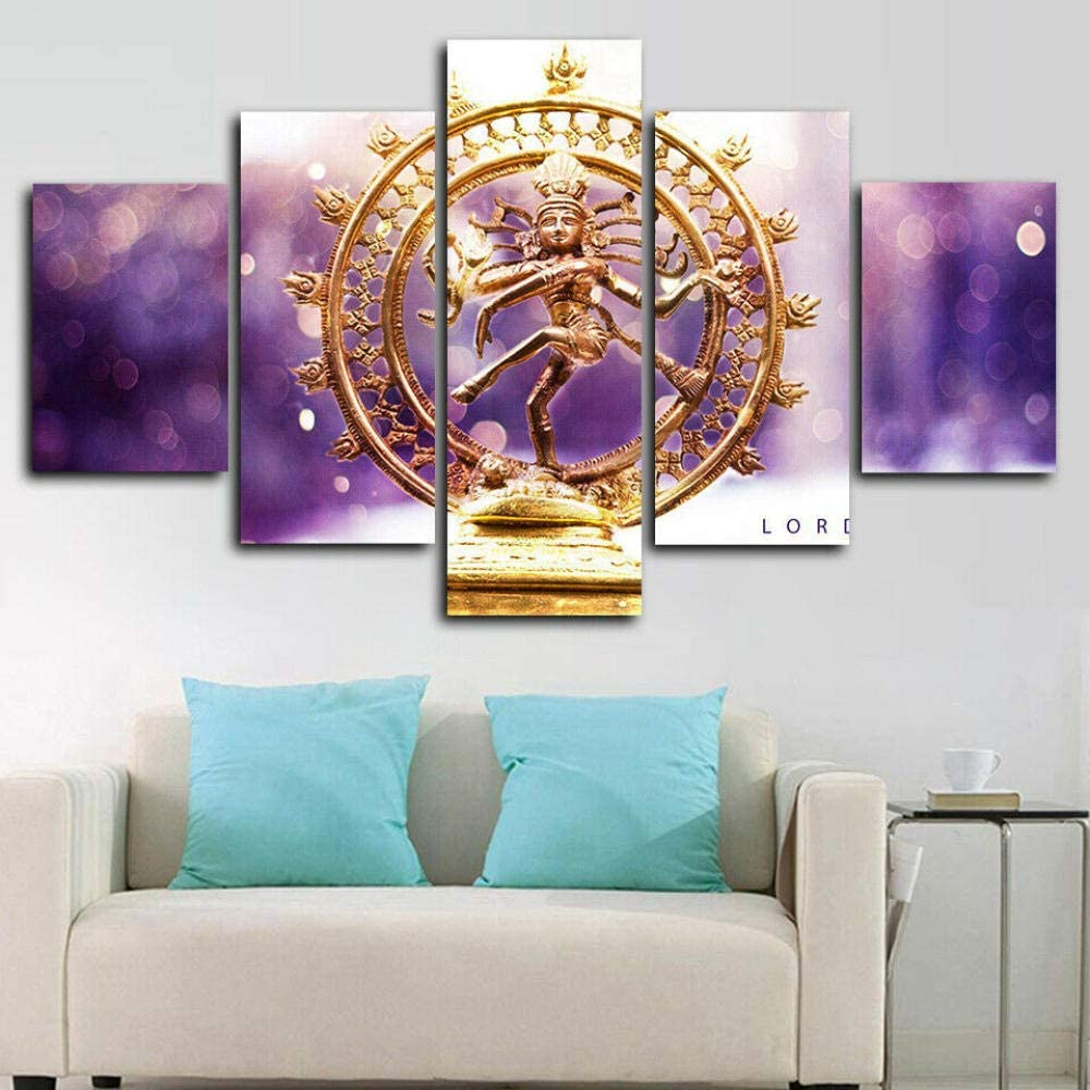 YDME Fall Decor for Home Decorations Hd Printed Canvas Painting Modern Wall Art Decor 5 Pieces Indoor Decorations Lord Shiva Nataraja -100X55cm
