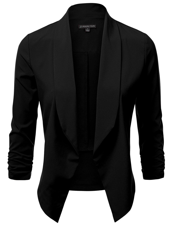 JJ Perfection Women's Lightweight Chiffon Ruched Sleeve Open-Front Blazer Black M