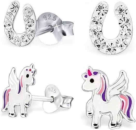 Hufeisen Pferd Ohrstecker Echt 925 Silber Ohrringe Kinder Damen