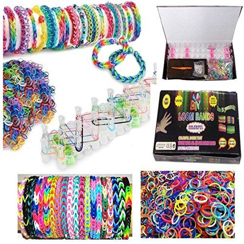 G-HUB® - DIY LOOM BANDS MULTI PACK BUNDLE - 600PCS with LOOM BOARD and LOOM TOOL included - Contains 600 Latex Free Bands in Various Assorted Colours for making Multi Colour Rainbow Effect Bracelets and (Additional Latex Free Bands)
