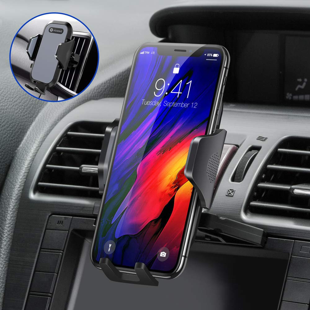 Ultra Stable Car Phone Mount, VICSEED 2019 Newest CD Slot & Air Vent Cell Phone Holder for Car, Compatible iPhone 11 Pro Max Xs Xr X 8 7 Plus, Compatible Samsung Note 10 S10+ S10 S9 S8 LG Google Etc. by VICSEED