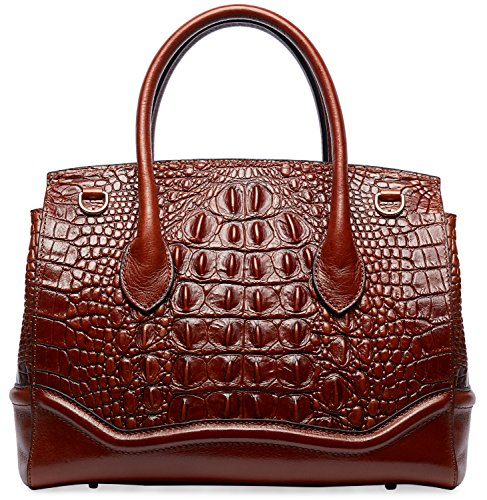 PIFUREN Crocodile Handbag Genuine Cow Leather Shoulder Top Handle Bag M1105 (One Size, Brown) by PIFUREN (Image #5)