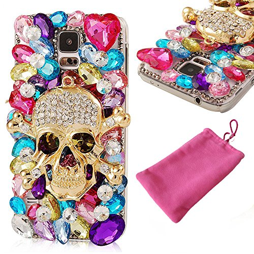 Galaxy S7 Case, LU2000 Diamond Sparkle Bedazzled Jeweled Bling Handmade Full 3D Crystal  Rhinestone Heart Metal Skull Design Phone Snap-on Hard Clear…