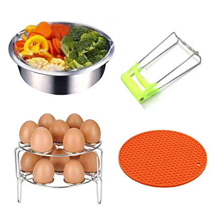 MAIKEHIGH Basket Rack Set para Instant Pot Accesorios - Se Adapta a Instant Pot 5, 6, 8qt Olla a presión con Plato Plegable Plato Dish Clip Clamp, ...