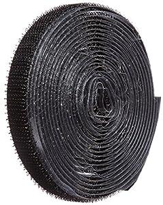 "VELCRO 1001-AP-PSA/H Black Hook Type Nylon Woven Fastening Tape, Pressure Sensitive Adhesive Back, 1/2"" Wide, 10' Length"