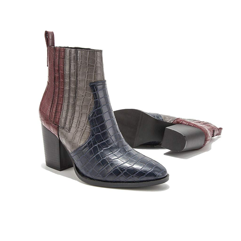 Dainzuy Women Ankle Boots Pointed Toe Low Chunky Stacked Heel Perforated Snakeskin Shoes Side V Cut Western Booties