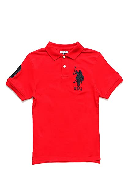 US Polo ASSN Playera tipo Polo Color Rojo Polo para Niños Rojo Talla ... d88b4ff2ca348