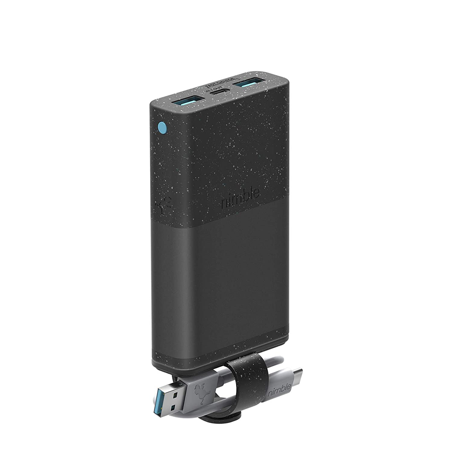 Nimble Eco-Friendly 3-Day Fast Portable Charger, 10,000 mAh QC 3.0 & 18W PD Fast Charge USB-C Compatible with Apple, Samsung, USB-Enabled Devices (Recycled Aluminum, Sustainable Bioplastics) NB-PC-10K-PD-BLK