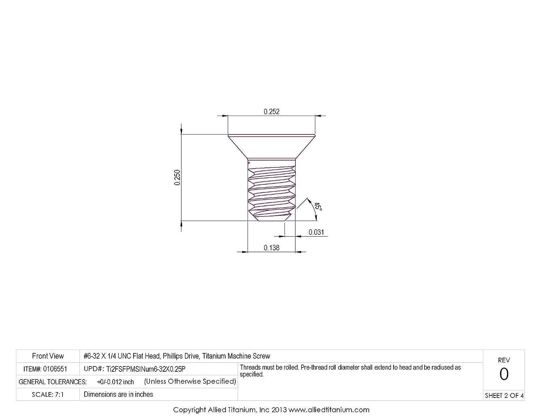 1037957004 Inc Allied Titanium 0106551, Phillips Drive Pack of 25 CP Machine Screw Grade 2 #6-32 X 1//4 UNC Titanium Flat Head