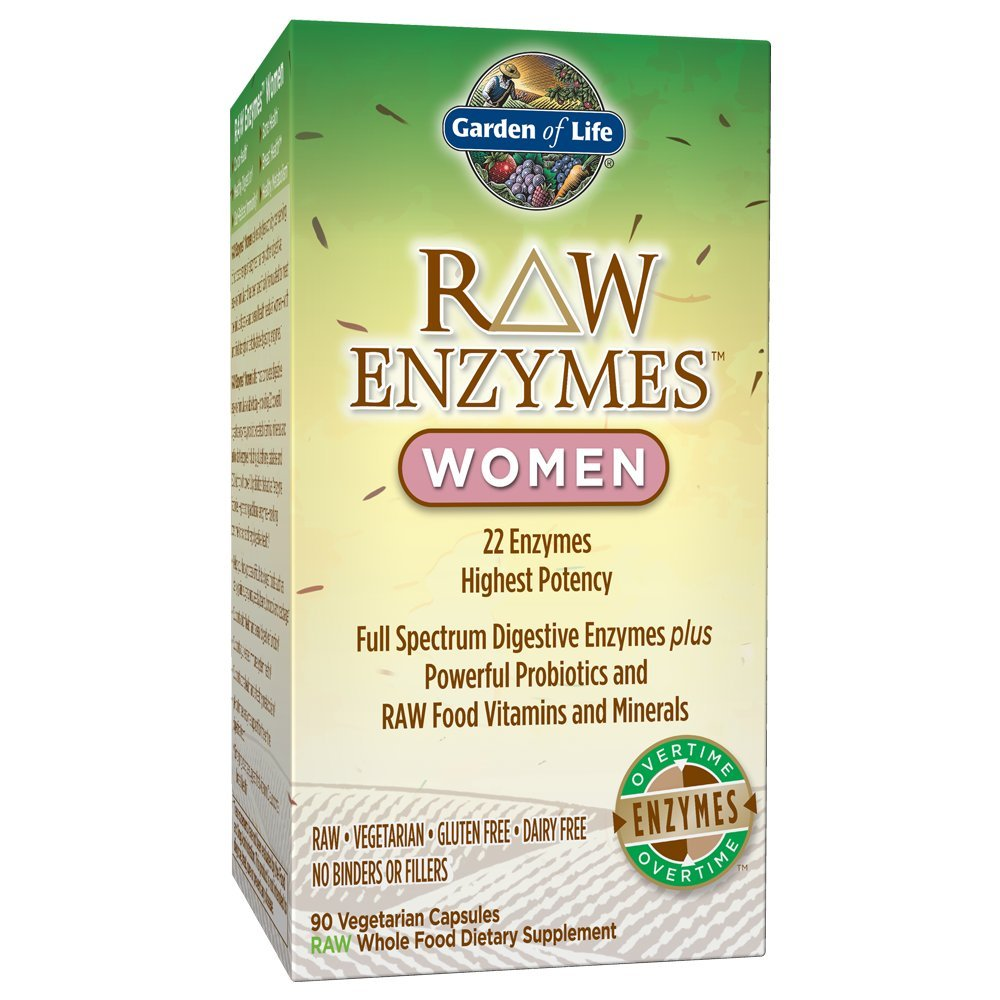 Garden of Life Vegetarian Digestive Supplement for Women - Raw Enzymes for Digestion, Bloating, Gas, and IBS, 90 Capsules by Garden of Life