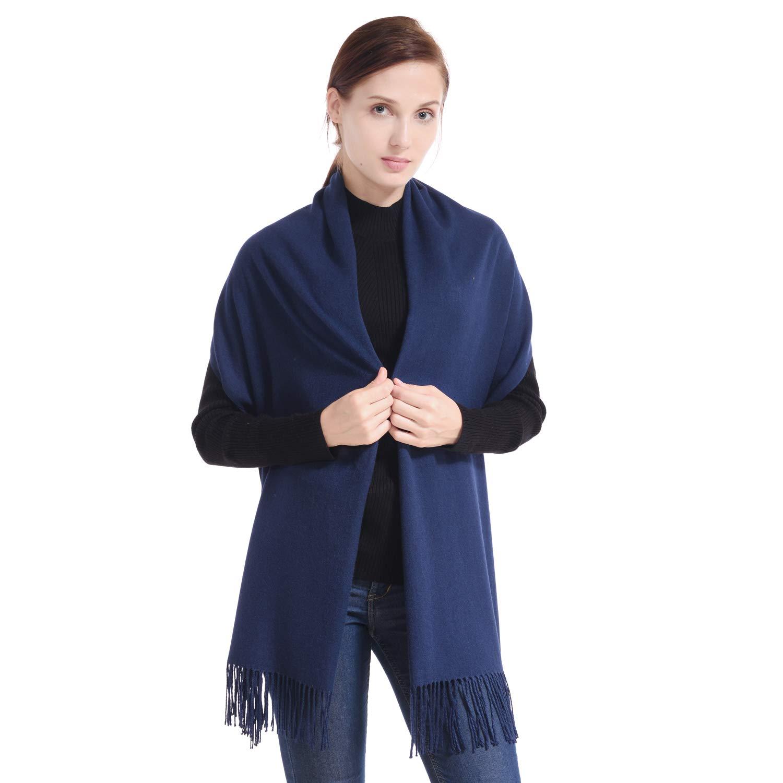 Navy bluee LERDU Ladies Cashmere Pashmina Scarf Wool Wrap Shawl Winter Stole for Women Grey