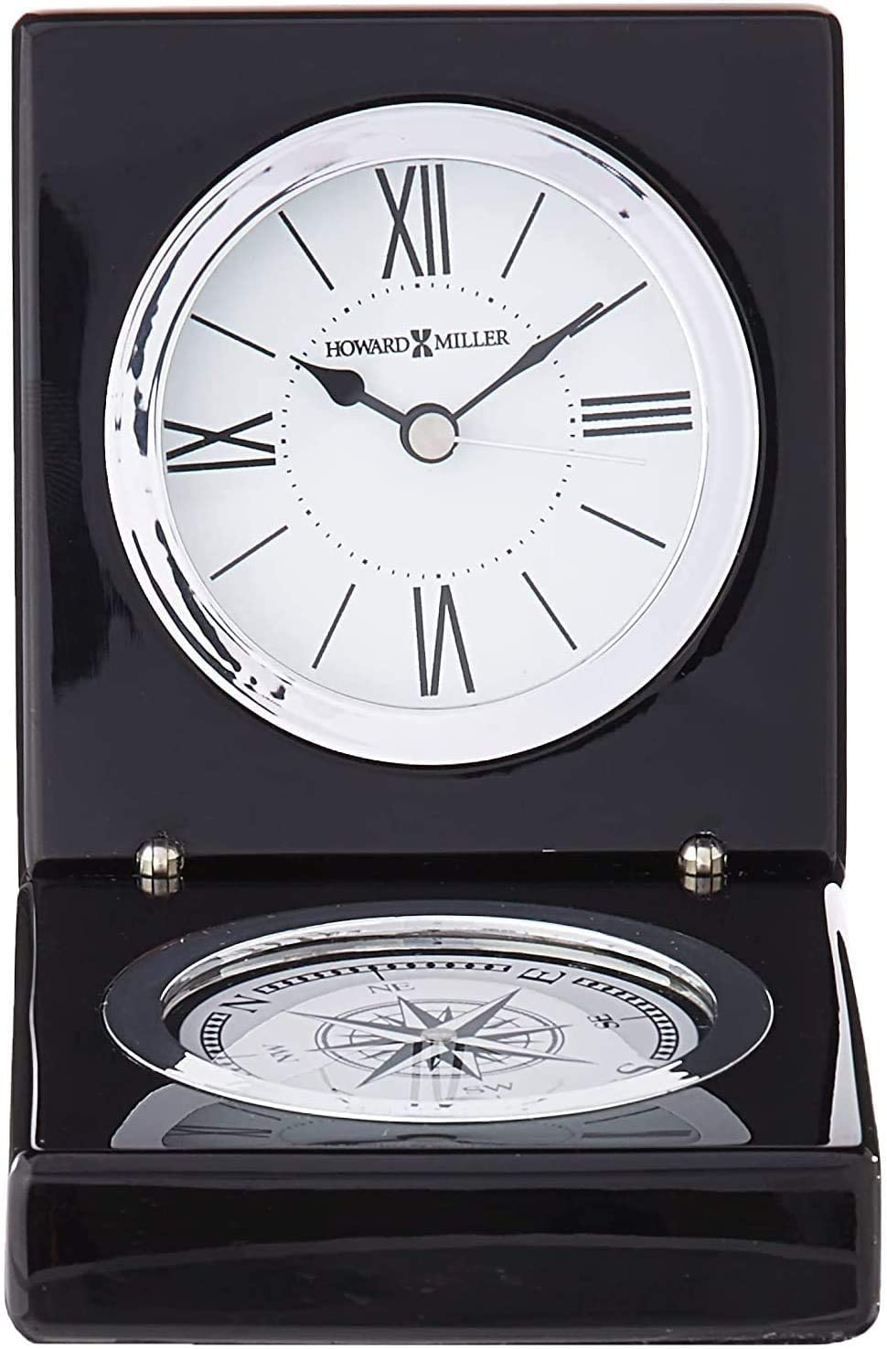 Howard Miller Endeavor Table Clock 645-743 Small Compass Combination with Black Piano Finish and Quartz Movement