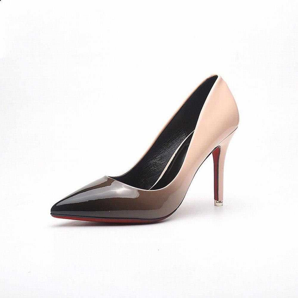 CXY Spring-Western Spitzen Spitzen Flachen High Heels Mode Farbe Lackleder Dünn mit Wilden Trendy Schuhe D mit Hohem 9.5CM 37