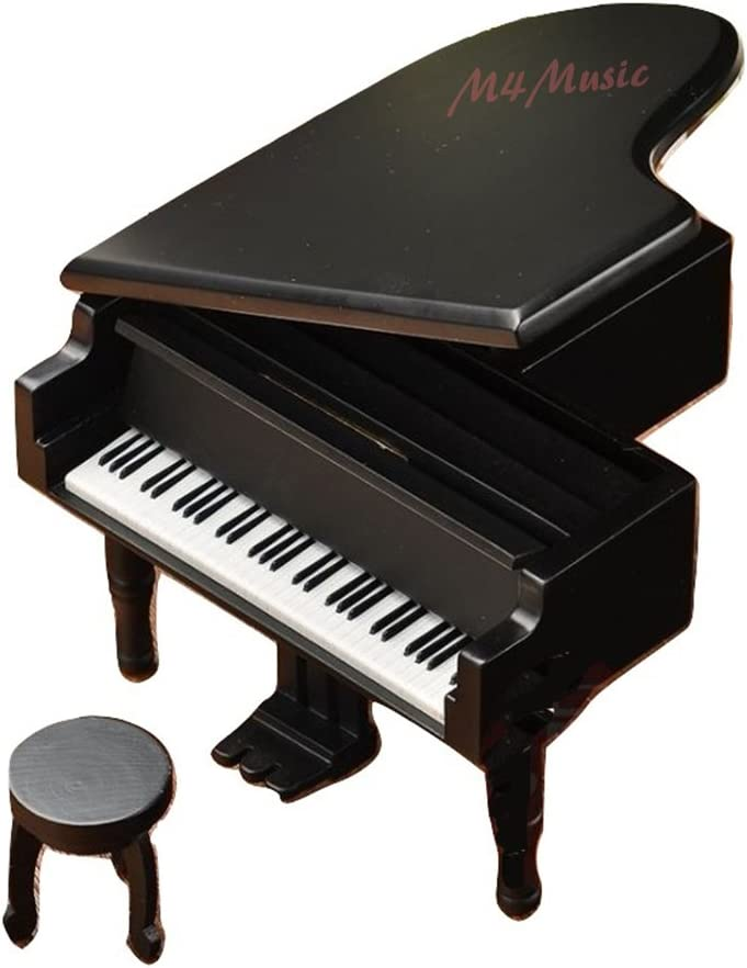 M4MUSIC Vintage Wind-up Mechanical Wooden Piano Music Box for Birthday w Free Music Bookmark (Piano-Black)