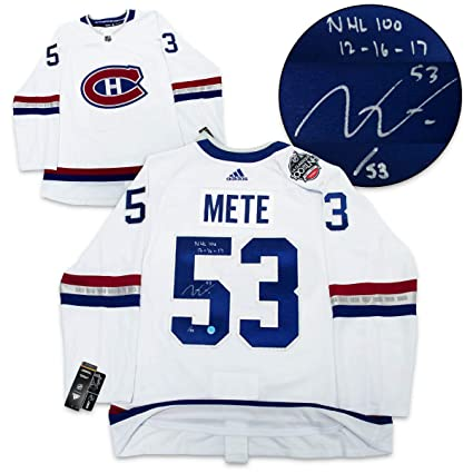 4f6f31eb9 Victor Mete Montreal Canadiens Autographed And Dated 2017 Nhl 100 Classic Adidas  Authentic Jersey  53