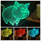 New Animal Lovely Cute 3D Pig Night Light Touch Switch Decor Table Desk Optical Illusion Lamps 7 Color Changing Lights LED Table Lamp Xmas Home Love Brithday Children Kids Decor Toy Gift