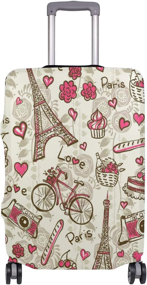 FOLPPLY Retro Paris Eiffel Tower Luggage Cover Baggage Suitcase Travel Protector Fit for 18-32 Inch