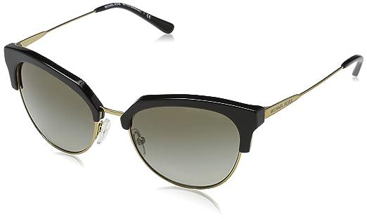 2c3e49068be6 MICHAEL KORS Women's Savannah 32698E 54 Sunglasses, Black/Shiny Pale  Gold-Tone/