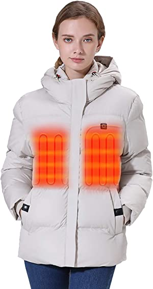 [2020 Upgrade] Women's Heated Jacket with Battery Pack 5V, Thicken Heated Coat with Adjustable Hood Water&Wind Resistant