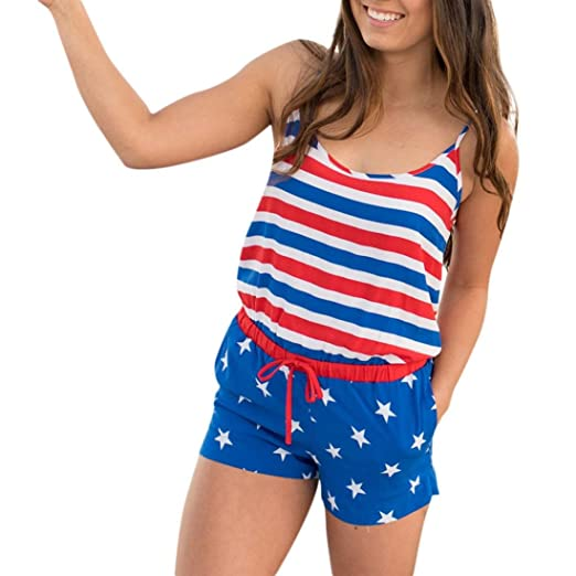 458064e27b5f Highpot Women s Patriotic American Flag Romper USA Red White and Blue  Jumpsuits (S