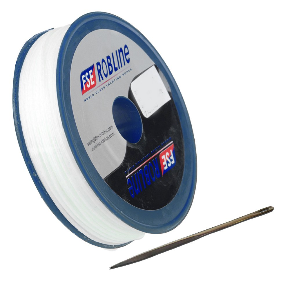 Robline FSE Waxed Tackle Yarn Whipping Twine Kit w/Needle - White - 0.8mm x 80M (57350) by Robline