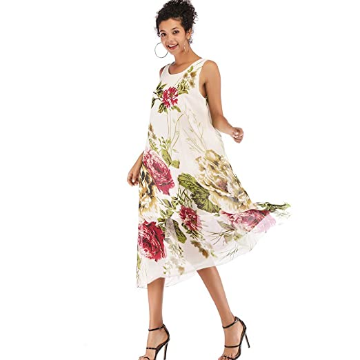 35d27ed146 COGIGI Women's Summer Boho Dresses Casual Boho Floral Print Beach Style  Dress Ladies Chiffon Swing Dress at Amazon Women's Clothing store: